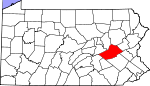 Map of Pennsylvania showing Schuylkill County