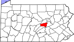 Map of Pennsylvania showing Snyder County