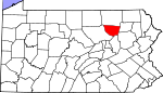 Map of Pennsylvania showing Sullivan County