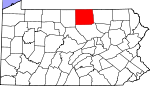 Map of Pennsylvania showing Tioga County