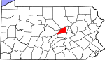 Map of Pennsylvania showing Union County