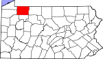 Map of Pennsylvania showing Warren County