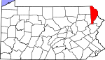 Map of Pennsylvania showing Wayne County
