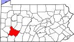 Map of Pennsylvania showing Westmoreland County