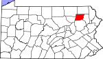 Map of Pennsylvania showing Wyoming County