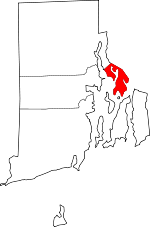 Map of Rhode Island showing Bristol County