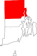 Map of Rhode Island showing Providence County