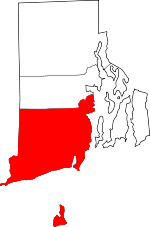 Map of Rhode Island showing Washington County