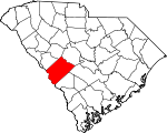 Map of South Carolina showing Aiken County