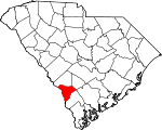 Map of South Carolina showing Allendale County