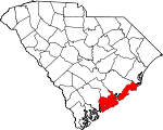 Map of South Carolina showing Charleston County