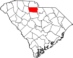 Map of South Carolina showing Chester County