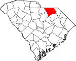 Map of South Carolina showing Chesterfield County