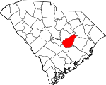 Map of South Carolina showing Clarendon County