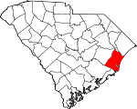 Map of South Carolina showing Georgetown County