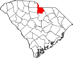Map of South Carolina showing Lancaster County