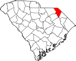 Map of South Carolina showing Marlboro County
