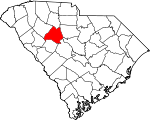 Map of South Carolina showing Newberry County