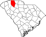 Map of South Carolina showing Spartanburg County
