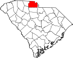 Map of South Carolina showing York County