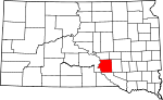 Map of South Dakota showing Brule County