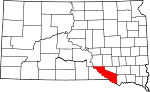 Map of South Dakota showing Charles Mix County