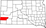 Map of South Dakota showing Custer County