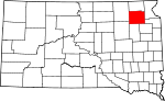 Map of South Dakota showing Day County