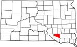 Map of South Dakota showing Douglas County