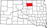 Map of South Dakota showing Edmunds County