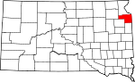 Map of South Dakota showing Grant County