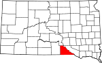 Map of South Dakota showing Gregory County