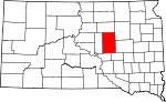 Map of South Dakota showing Hand County