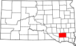 Map of South Dakota showing Hutchinson County