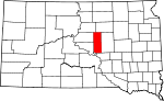 Map of South Dakota showing Hyde County