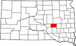 Map of South Dakota showing Jerauld County