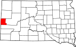 Map of South Dakota showing Lawrence County