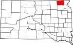 Map of South Dakota showing Marshall County