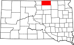 Map of South Dakota showing McPherson County