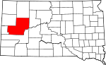 Map of South Dakota showing Meade County