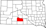 Map of South Dakota showing Mellette County