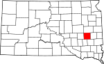 Map of South Dakota showing Miner County