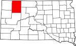 Map of South Dakota showing Perkins County