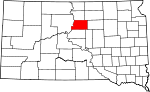 Map of South Dakota showing Potter County