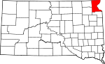 Map of South Dakota showing Roberts County