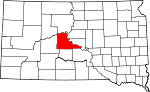 Map of South Dakota showing Stanley County