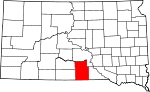 Map of South Dakota showing Tripp County