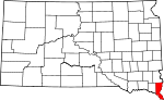 Map of South Dakota showing Union County