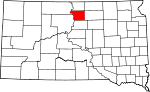 Map of South Dakota showing Walworth County