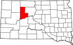Map of South Dakota showing Ziebach County
